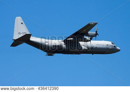 Volkel, Netherlands - June 15, 2013: Military Transport Plane At Air Base. Air Force Flight Operatio