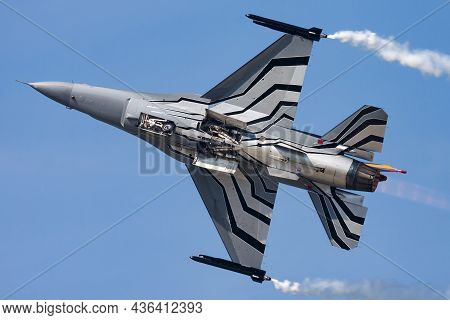 Sliac, Slovakia - August 30, 2015: Military Fighter Jet Plane At Air Base. Air Force Flight Operatio