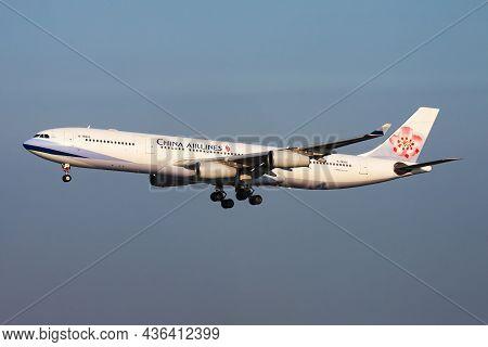 Vienna, Austria - August 3, 2014: China Airlines Passenger Plane At Airport. Schedule Flight Travel.