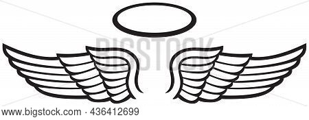 Angel Wings And Halo Black Vector Icon