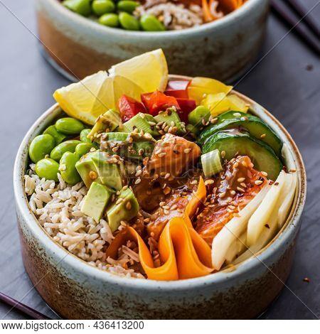 Salmon on rice poke bowl photography