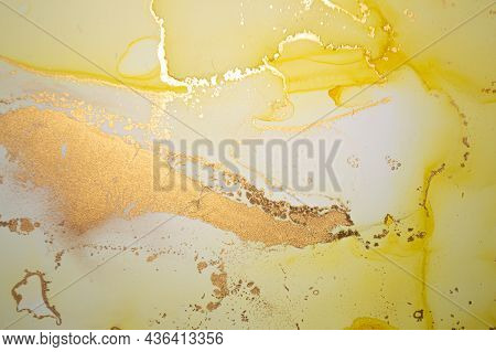 Gold Abstract Liquid. Alcohol Ink On Canvas. Vibrant Flow Illustration. Art Marble Texture. Abstract