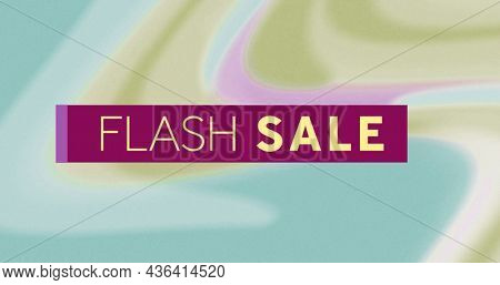 Image of flash sale on pastel colorful background. business, trade, sale and promotions concept digitally generated image.