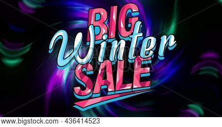 Image of big winter sale over colorful lights on black background. business, trade, sale and promotions concept digitally generated image.