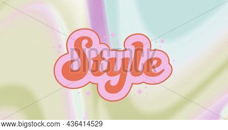 Image of style on pastel colorful background. business, trade, sale and promotions concept digitally generated image.