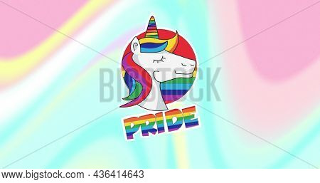 Image of rainbow pride and unicorn over colorful pastel background. lgbt rights and equality concept digitally generated image.