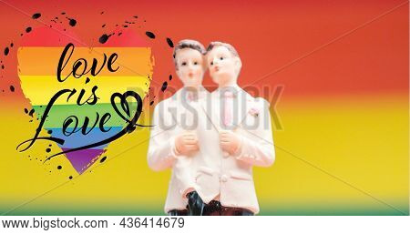 Image of rainbow heart, love is love and gay couple figure. lgbt rights and equality concept digitally generated image.