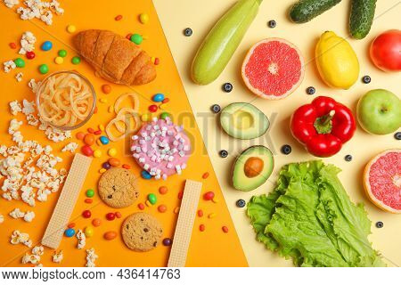 Healthy Foods And Unhealthy Foods On A Colored Background Close-up Top View.