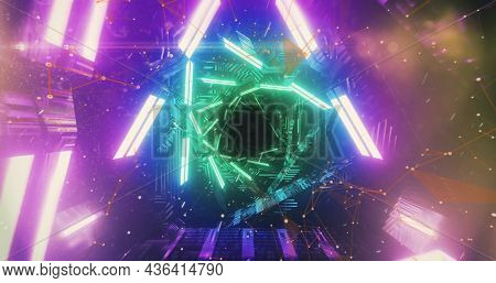 Image of abstract kaleidoscope geometric glowing neon shapes moving in hypnotic motion in seamless loop. Colour abstract movement concept digitally generated image.