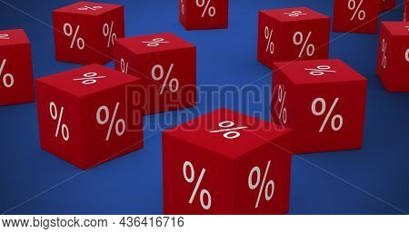Image of red cubes with per cent sign on blue background. digitalinterface global finance and business concept digitally generated image.
