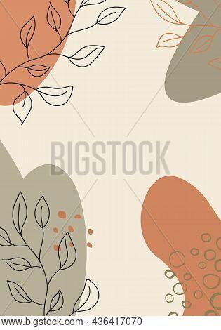 Graphical Leaves Illustration. Floral Line Art Pattern Background.