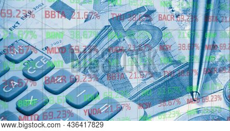 Image of financial data processing over calculator and euro currency bills. global finance and business, connection concept digitally generated image.