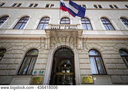 Ljubljana, Slovenia - June 17, 2021: Main Facade Of Urad Predsednika Republike Slovenije, The Office