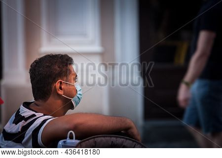 Belgrade, Serbia - August 11, 2021: Indian Tourist Young Man From India, Walking In A Belgrade Stree