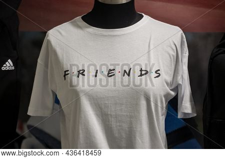 Belgrade, Serbia - June 1, 2021: Selective Blur On A T-shirt With The Logo Of Friends Sitcom Series