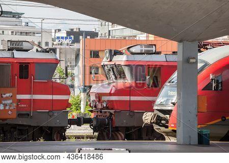 Ljubljana, Slovenia - June 16, 2021: Slovenian Railways (slovenske Zeleznice) Electric Locomotive Se