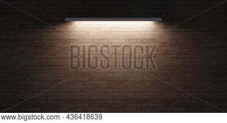 Brick Wall And Lantern Light On The Surface Of A Blank Cement Wall Old Floor 3d Illustration