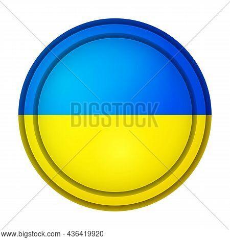 Glass Light Ball With Flag Of Ukraine. Round Sphere, Template Icon. Ukrainian National Symbol. Gloss