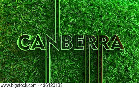 Canberra City Name In Geometry Style Design With Green Grass