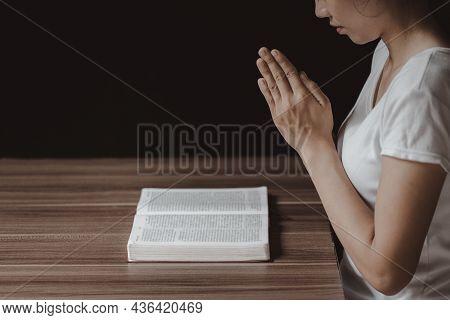 Pay Respect Prayer Concept For Faith Spirituality And Religion Gray Background. Religious Beliefs Ch