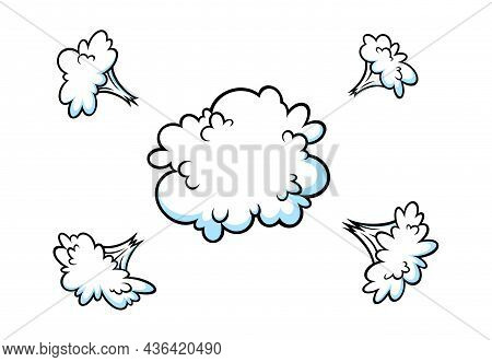 Comic Explosion Smoke Effect. Puff And Boom Cloud For Surprising And Explosive Events. Vector Illust