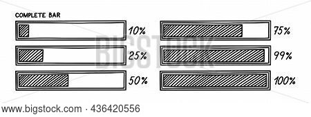 Loading Bar With Percentage. Infographics Design Element With Status Of Completion. Hand Drawn Vecto