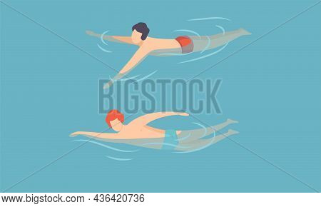 Man Floating In Blue Sea Water Moving Hands Vector Set