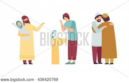 Muslim People Character In Traditional Clothing Hugging Each Other Greeting And Rinsing Hands In Sin