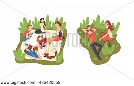 People Character Having Picnic In The Park Sitting On Green Lawn And Blanket Talking Vector Set