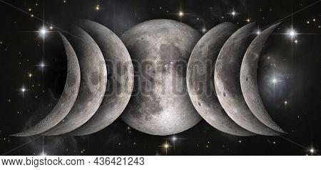 Phases Of The Moon: Waxing Crescent, First Quarter, Waxing Gibbous, Full Moon, Waning Gibbous, Third