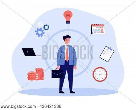Businessman With Multi Skills Planning Work Task. Man Organizing Workflow Flat Vector Illustration.