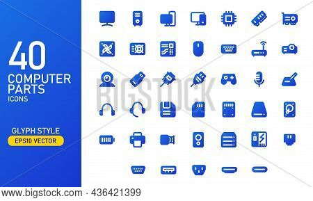 Computer Parts And Components Icon Set. Computer Hardware Glyph Icon Collection. Suitable For Design