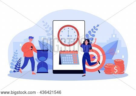 People Working With Planning Schedule. Tiny Man And Woman Scheduling Tasks In Business Calendar Flat