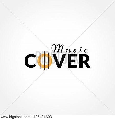 Music Cover Logo Design With Guitar Resonant Hole With String Shape Element. Suitable For Artist Man