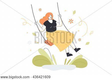 Adult Girl In Good Mood Sitting On Swing. Young Woman Having Fun And Enjoying Life Flat Vector Illus