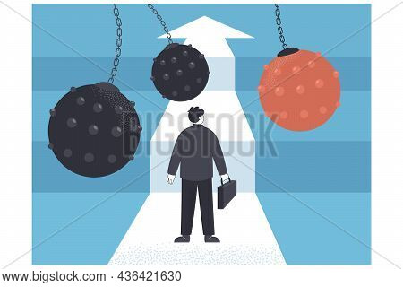 Resilient Businessman Facing Difficulties And Overcoming Obstacles. Fearless Cartoon Man Making Effo