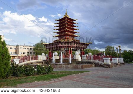 Elista, Russia - September 20, 2021: Buddhist Pagoda