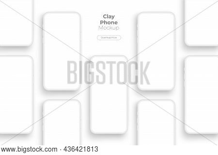 Clay Mobile Phones Mockups With Blank Screens For Showing Your App Design. Vector Illustration