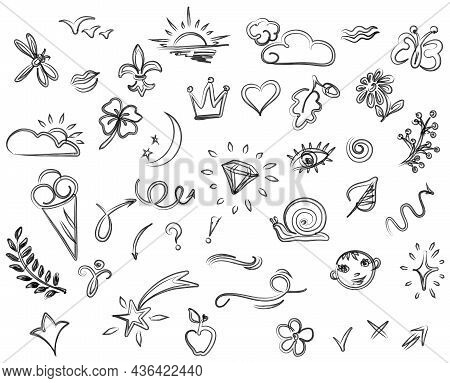 Doodle Illustration. Abstract Childish Doodles. Vector Graphic Elements.
