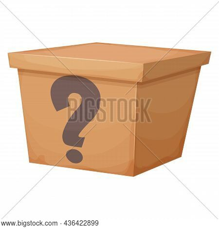 Mystery Cardboard Box With Question, Closed Present In Cartoon Style Isolated On White Background. F