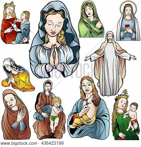 Virgin Mary Set - Colored Illustrations Isolated On White Background, Vector