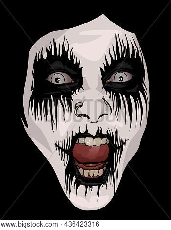 Corpse Paint Makeup As Colored Illustration For Black Metal Or Death Metal Or Metal Music, Vector