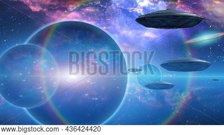 Alien fleet hovers around mysterious planet. 3D rendering.