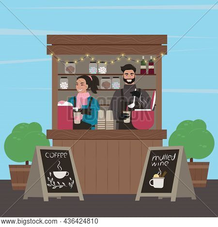 Counters Stalls. Stall With Coffee And Mulled Wine. The Guy And The Girl Sell. Vector Illustration