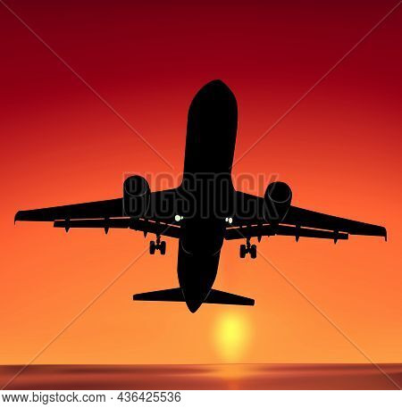 Commercial Airliner Flying Upwards Against An Orange Sunset - Illustration With Orange Tones And Air