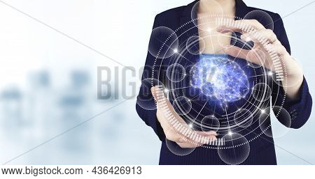 Science And Artificial Intelligence Technology, Innovation And Futuristic. Two Hand Holding Virtual