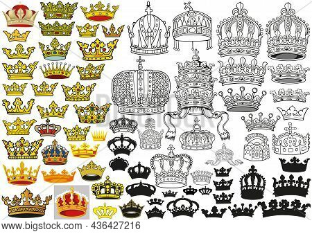 Big Set Of Heraldic Crowns In Colored Illustrations, Black Outlined Illustrations And Black Silhouet