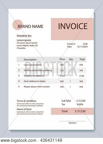 Invoice For Cosmetic Services. Bill Form Business Invoice Accounting.vector Illustration. Minimalist