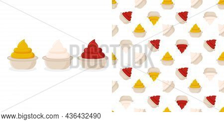Seamless Pttern Ketchup, French Mustard And Mayonnaise In Bowl Set Isolated. Dressing Composition In