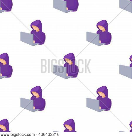 Hooded Computer Hacker With Laptop Pattern Seamless Background Texture Repeat Wallpaper Geometric Ve